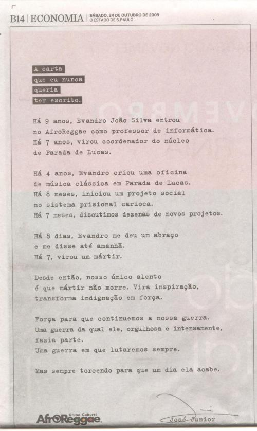 Carta publicada por José Junior no Estado de S. Paulo em 24/10/09